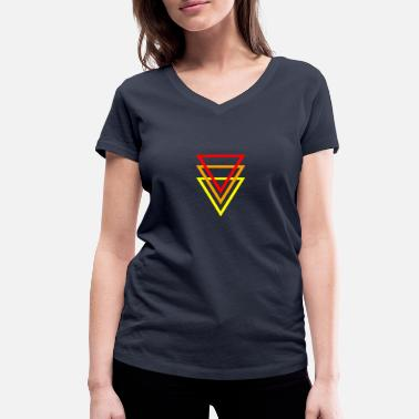 Inverted Triangle Triangles red orange yellow - Women's Organic V-Neck T-Shirt by Stanley & Stella