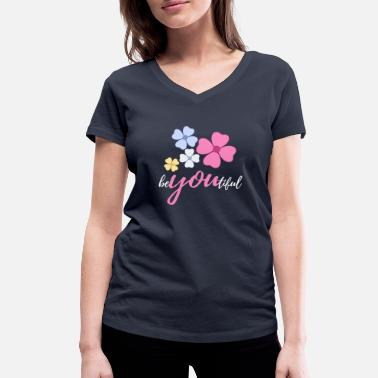 Floral Motive Romantic floral motif: beYOUtiful - Women's Organic V-Neck T-Shirt by Stanley & Stella