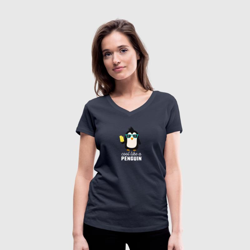 cool like a penguin S77r6 - Women's Organic V-Neck T-Shirt by Stanley & Stella