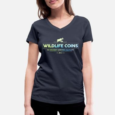 African Grey african wildlife coins - Women's Organic V-Neck T-Shirt by Stanley & Stella