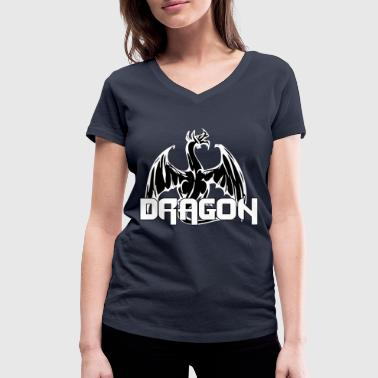 dragon back colored black - Women's Organic V-Neck T-Shirt by Stanley & Stella