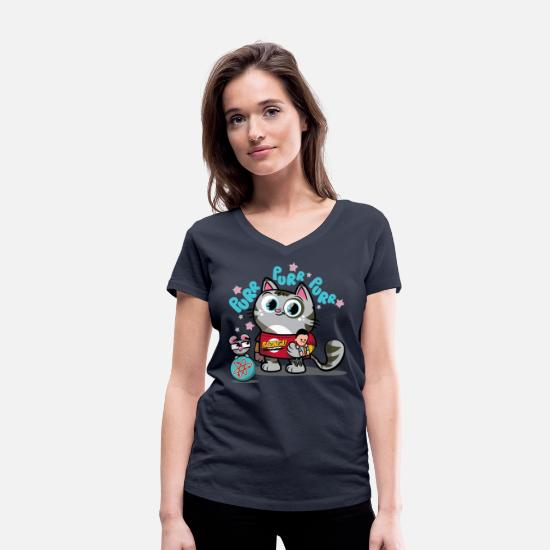Big T-shirts - Vrouwen T-shirt Softy Kitty - Vrouwen V-hals bio T-shirt navy
