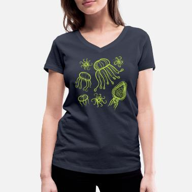 Jellyfish in neon yellow - Women's Organic V-Neck T-Shirt