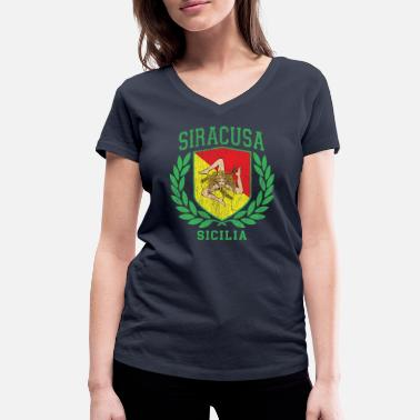 Cefalü Sicilia Flag and Shield with Trinacria - Siracusa - Women's Organic V-Neck T-Shirt