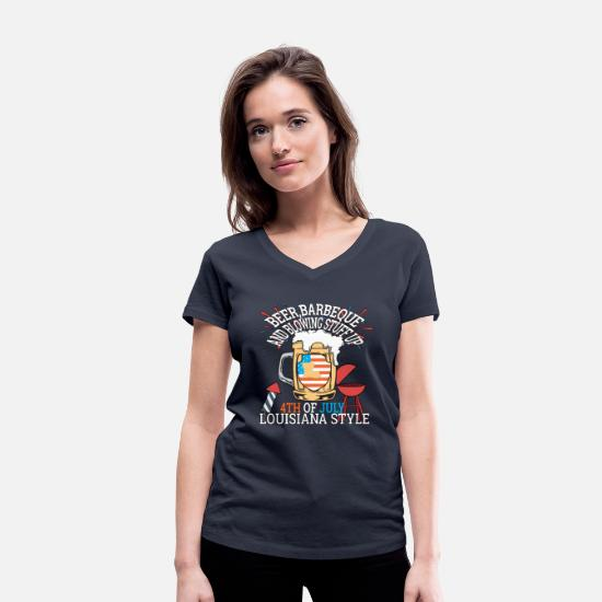 July T-Shirts - Beer BBQ And Blowin Stuff Up 4th Of July - Women's Organic V-Neck T-Shirt navy