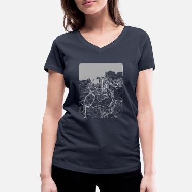 Sebastián Minimal San Sebastián city map and streets - Women's Organic V-Neck T-Shirt