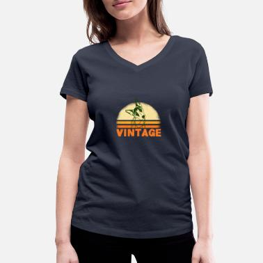 Vintage dog design gift - Women's Organic V-Neck T-Shirt