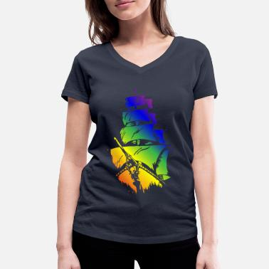 Pirate Ship in LGBT flag - Women's Organic V-Neck T-Shirt