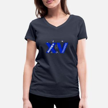 Lyon Rugby Toulousain XV TRAINING blue - Women's Organic V-Neck T-Shirt