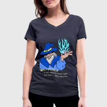Willpower Wizard Blue / Light Blue Flame - Women's Organic V-Neck T-Shirt by Stanley & Stella