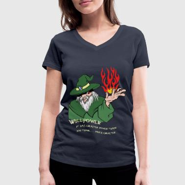 Willpower Wizard Green / Red Flame - Women's Organic V-Neck T-Shirt by Stanley & Stella