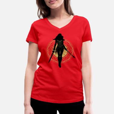 Warner Bros Wonder Woman Silhouette - T-shirt bio col V Femme