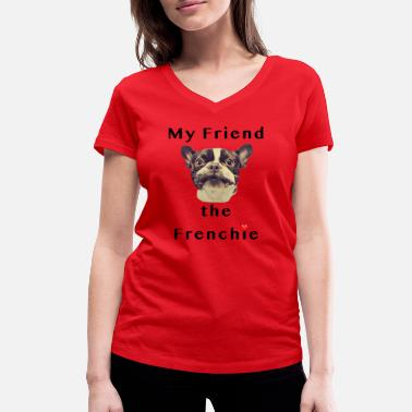 Frenchie Frenchie - T-shirt ecologica da donna con scollo a V di Stanley & Stella