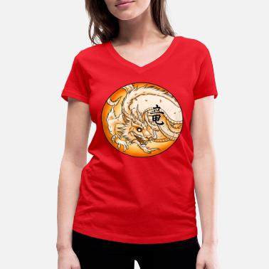 Chinese Dragon Chinese Dragon - Women's Organic V-Neck T-Shirt by Stanley & Stella