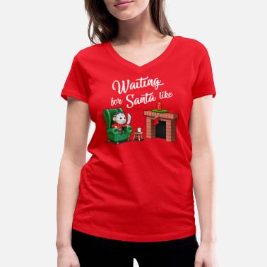 Jason by the fireplace is waiting for Santa (white) - Women's Organic V-Neck T-Shirt by Stanley & Stella