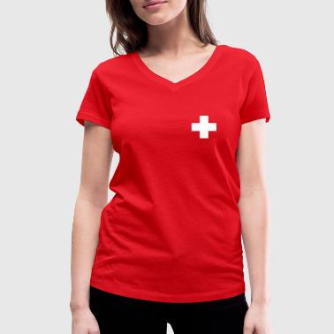 Swiss cross - Women's Organic V-Neck T-Shirt by Stanley & Stella