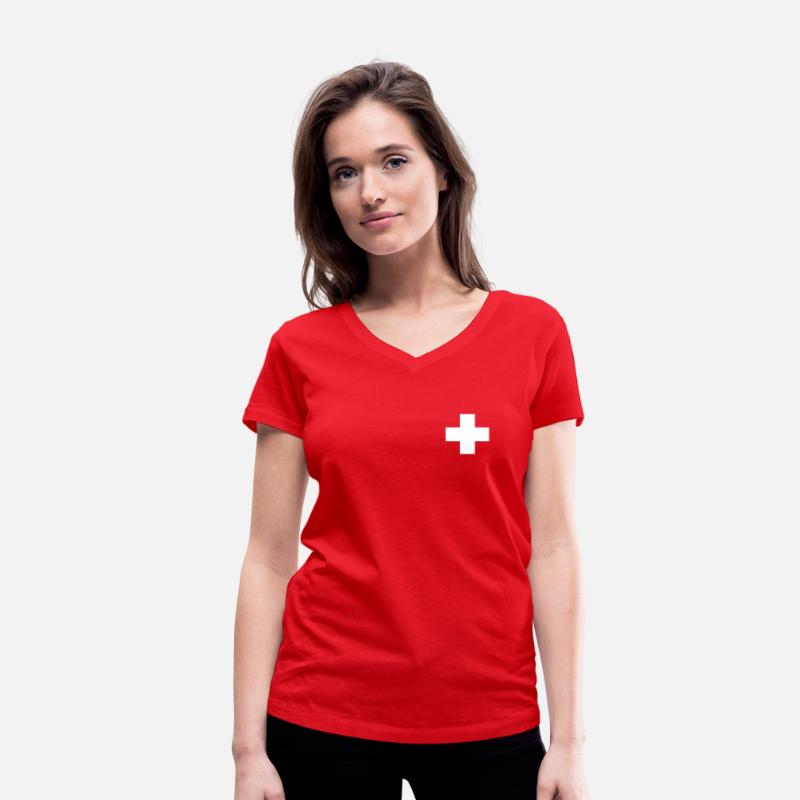 Kruis T-Shirts - Zwitsers kruis - Vrouwen V-hals T-shirt rood