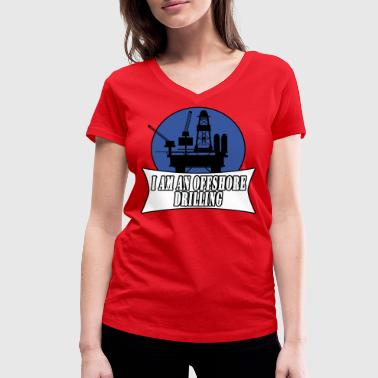 Oil Drilling drilling rig - Women's Organic V-Neck T-Shirt by Stanley & Stella