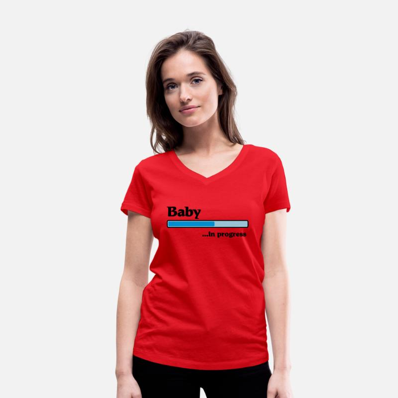 Bar T-Shirts - Baby in progress - Vrouwen V-hals T-shirt rood