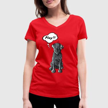 Flat Coated Retriever Flat Coated Retriever Play  - Frauen Bio-T-Shirt mit V-Ausschnitt von Stanley & Stella