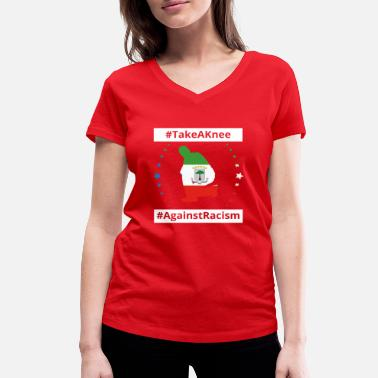 Guinea Football take a knee football Aequatorial Guinea png - Women's Organic V-Neck T-Shirt by Stanley & Stella