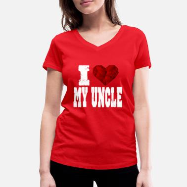 Rubin i love my uncle spruch heart love love - Women's Organic V-Neck T-Shirt by Stanley & Stella