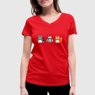 Forest Animal Forest animals - Women's Organic V-Neck T-Shirt by Stanley & Stella