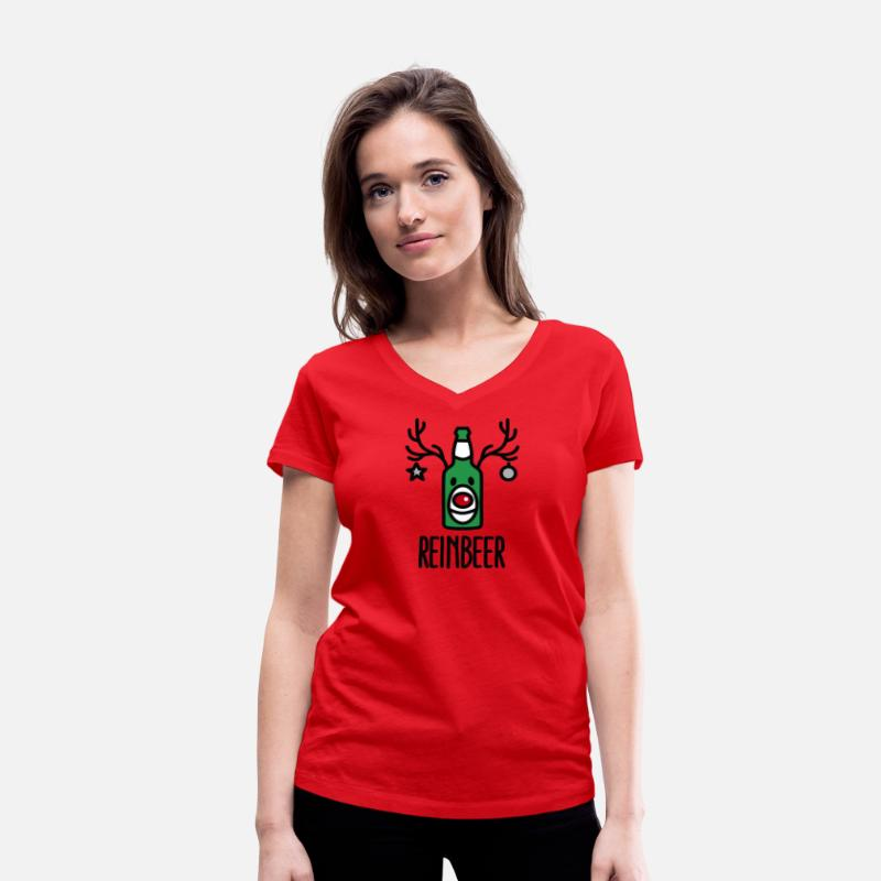Rudolph T-Shirts - Reinbeer = Reindeer + Beer - Women's Organic V-Neck T-Shirt red