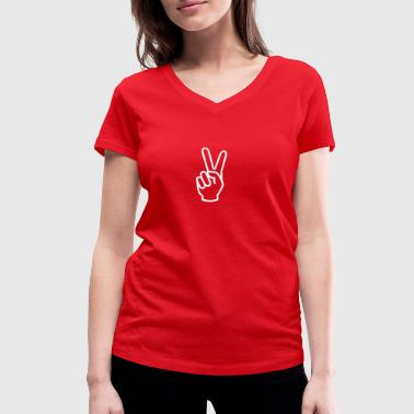 PEACE peace peace sign - Women's Organic V-Neck T-Shirt by Stanley & Stella
