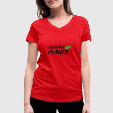 Power Plant Powered by Plants - Women's Organic V-Neck T-Shirt by Stanley & Stella