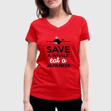 Dining - Save a Whales eat a Japanese - Women's Organic V-Neck T-Shirt by Stanley & Stella