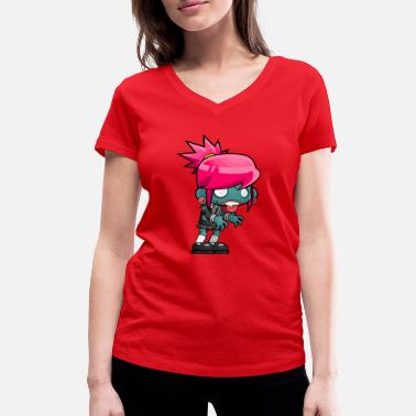 Page Boy Zombie girl - Women's Organic V-Neck T-Shirt by Stanley & Stella