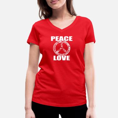 Woodstock Poland Peace Love T-Shirt Peace and Love Peace Sign - Women's Organic V-Neck T-Shirt by Stanley & Stella