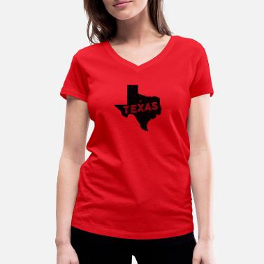 State Motto Texas Motto and Vintage Nickname - Women's Organic V-Neck T-Shirt by Stanley & Stella