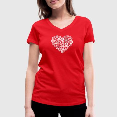 Nazca Love heart minimalist pattern t-shirt - Women's Organic V-Neck T-Shirt by Stanley & Stella