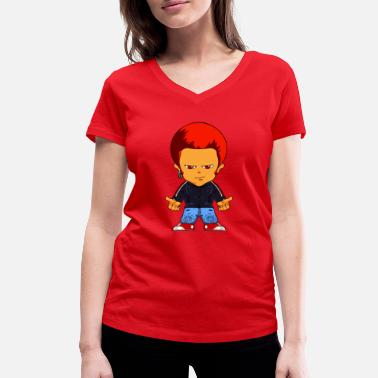 Comic Figure Little gangster comic figure - Women's Organic V-Neck T-Shirt