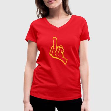 middle finger - Women's Organic V-Neck T-Shirt by Stanley & Stella