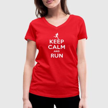 Keep calm and run - Women's Organic V-Neck T-Shirt by Stanley & Stella