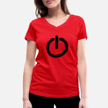 Power Button power button - Women's Organic V-Neck T-Shirt