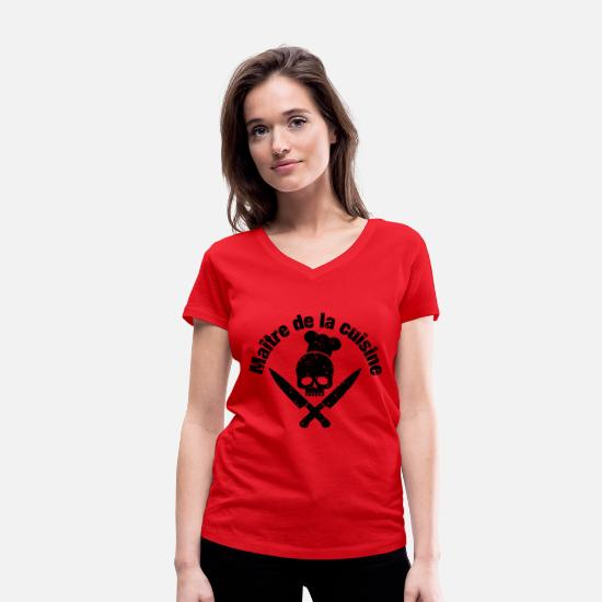 Gift Idea T-Shirts - Skull with chef's hat and knives - Women's Organic V-Neck T-Shirt red