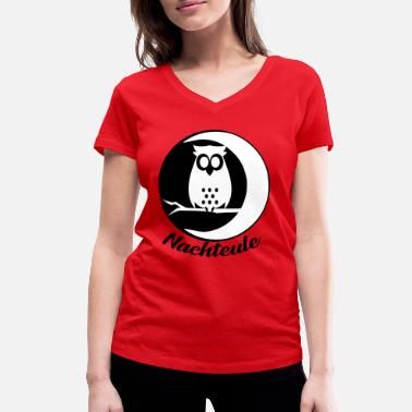 Night Owls Night owl owl owl bird night - Women's Organic V-Neck T-Shirt