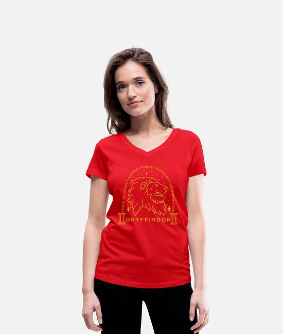 Official License T-shirts - Harry Potter Gryffindor Coat of Arms - T-shirt med V-udskæring dame rød