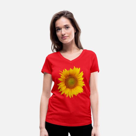 Flowers T-Shirts - Single sunflower - Women's Organic V-Neck T-Shirt red