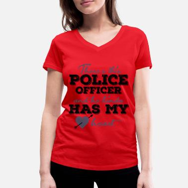 Cops Policeman with police dog and flashing lights - Women's Organic V-Neck T-Shirt