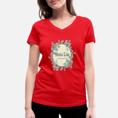 f40b93368ff869 Mona Lisa z bukietem kwiatów - Koszulka damska z dekoltem w serek