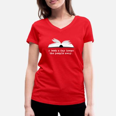 Book Book Lover Design - A Book A Day - Women's Organic V-Neck T-Shirt