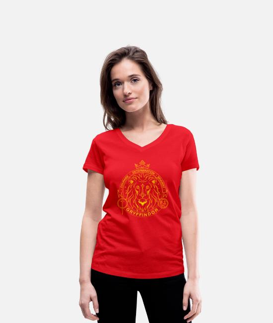 Official License T-shirts - Harry Potter Gryffindor Lion - Ekologisk T-shirt med V-ringning dam röd