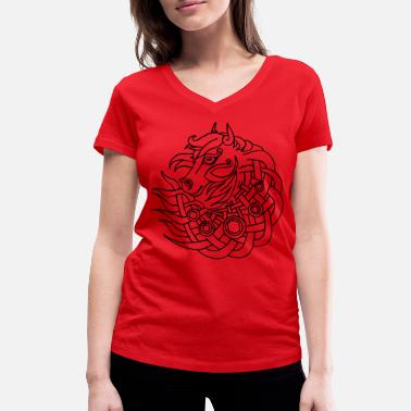 Celtic Celtic Horse Head Outline - Celtic Design Knot - Vrouwen V-hals bio T-shirt