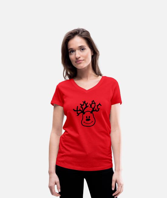 Xmas T-Shirts - XMAS - Reindeer - Women's Organic V-Neck T-Shirt red