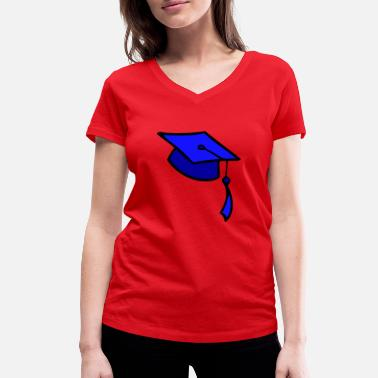 College college, graduation, cap, trains, University of, - Women's Organic V-Neck T-Shirt